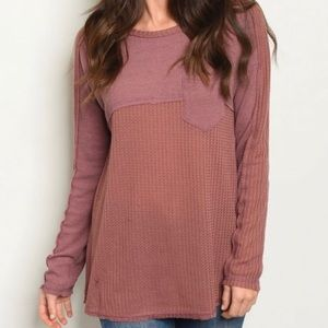Love Riche rosewood Waffle Knit Crew Neck top